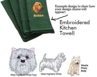 West Highland White Terrier Personalized Embroidered Kitchen Towel
