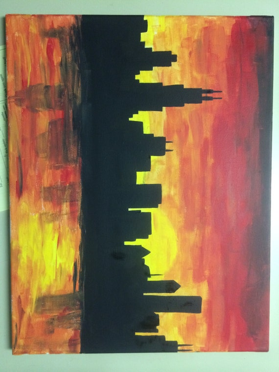 items similar to chicago skyline silhouette canvas