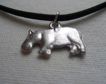 Hippo choker, choker necklace,silver hippo, black choker,hippo necklace, gift,hippo jewelry,animal jewelry, small hippo, simple jewelry