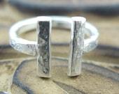 Handmade Hammered Band Designer Hammered T Ring 925K Sterling Silver