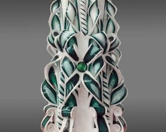 """33cm/13"""" Carved Candle - XXLarge Candle - Green Candle"""