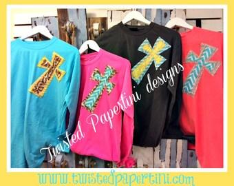 Cross Applique Long-Sleeve T-Shirt (Monogram Optional)