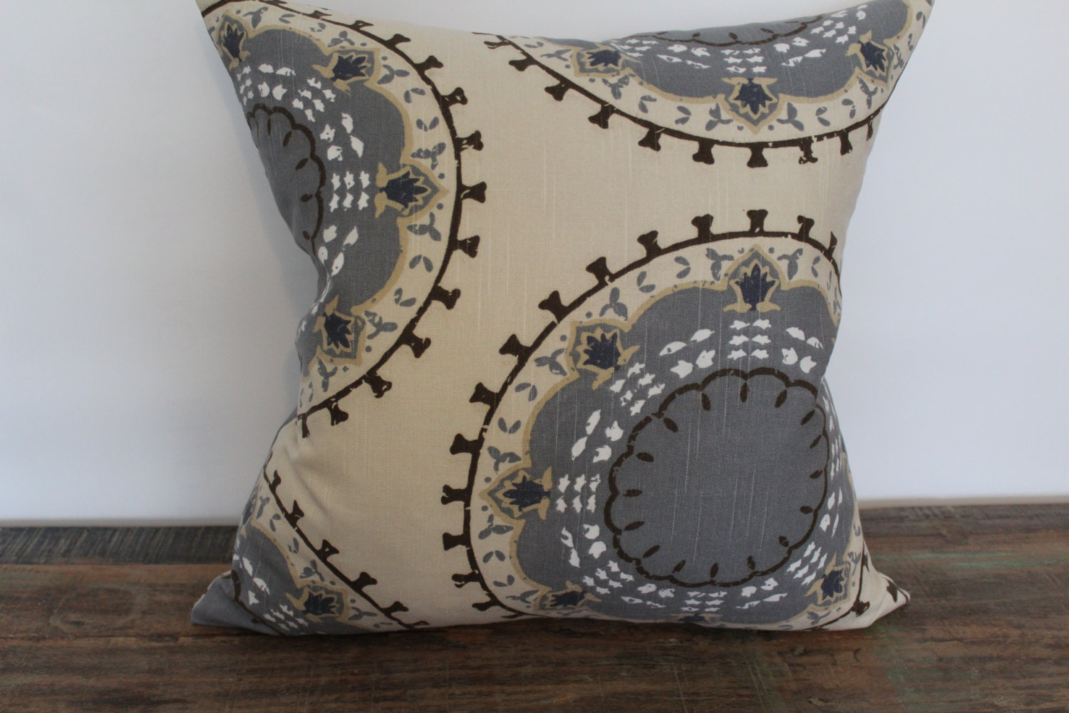 taupe blue brown grey decorative pillow cover pillow. Black Bedroom Furniture Sets. Home Design Ideas