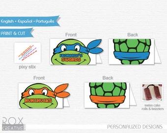 Ninja Turtles Food Tents, TMNT food labels, Digital Design, Double Side Design