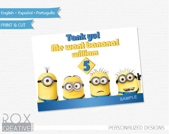 Minions 5 x 7 Table Design, Digital Custom Design, Just put in a ...