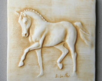 """Hand made equine tile 3, dressage horse, 4"""" accent tile to install or hang/display"""