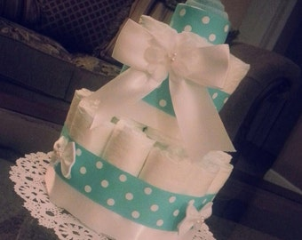 Baby Boy Blue And White Diaper Cake- Blue And White dots.