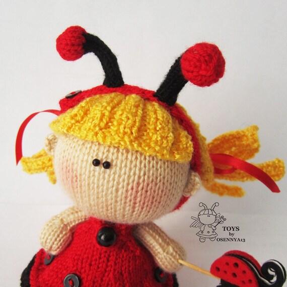 Pebble Doll Ladybug - knitting pattern (knitted round), Amigurumi doll Ladybu...