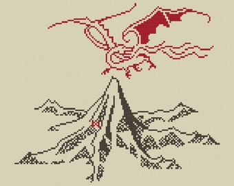 The Lonely Mountain and Smaug cross stitch pattern (Digital File-PDF)