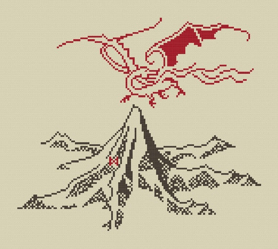 The lonely mountain and smaug cross stitch pattern for Tattoo shops in la crosse wi