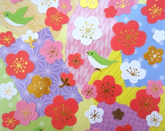 Japanese paper plum blossom and bird stickers - washi paper stickers - gorgeous chiyogami stickers - yuzen paper stickers