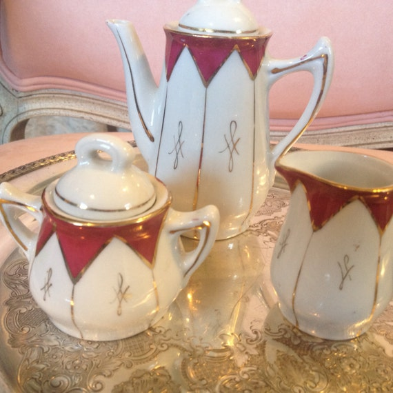 Coffee/teaService for one, porcelain tea set, small tea set, serving set