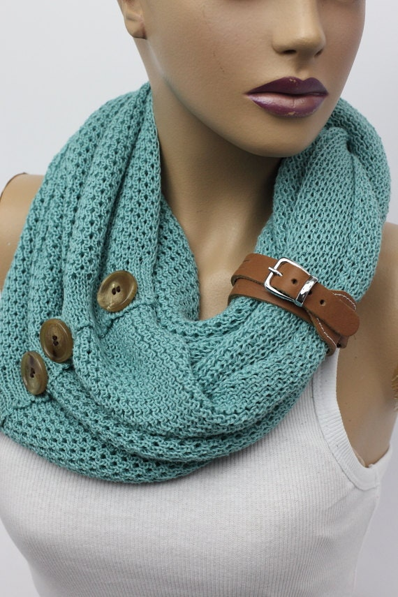 Infinity Scarf With Buttons Knitting Pattern : Knit button infinity scarf Leather cuffcircle by OrganicScarf