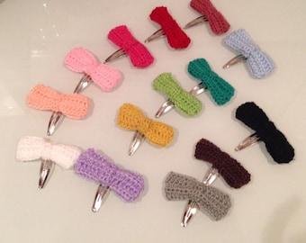 Hand Crocheted Bow Hair Clips