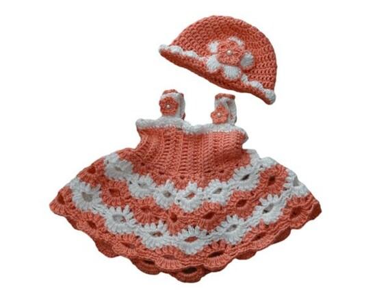 ... Floral Peach Pink Crochet Dress for Girls Peach Pink Newborn Dress