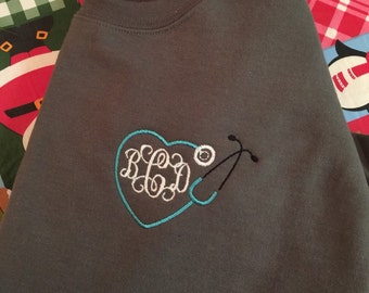 Gray sweatshirt with aqua stethoscope monogram!