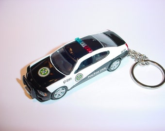 3D 2008 Dodge Charger POLICIA CIVIL custom keychain by Brian Thornton keyring key chain 911 police cop pursuit cruiser hood opens diecast