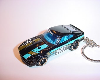 3D Datsun 240Z custom keychain by Brian Thornton keyring key chain finished in black color ozaki racing trim diecast metal body 240 z #24