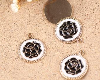 10PCS Enamel flower charm pendant,bracelet accessories,18x22mm,  jewelry findings