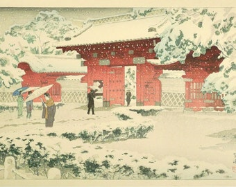 "Japanese original Ukiyo-e Woodblock print, Shin-hanga, Shiro Kasamatsu, ""The University of Tokyo, Akamon"""