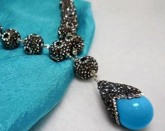 CZ Turquoise Tear Drop Princess Rivière Necklace