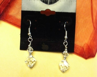 Swarovski crystal handmade earrings, clear crystal bicones.