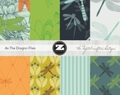 As The Dragonflies Digital Scrapbook Papers Set, Digital Paper Pack, Digital Paper