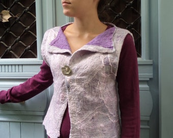"Nuno felted women's waistcoat /  vest  "" Mother of Pearl "" . Wearable art. Merino wool and silk. Eco fashion. OOAK"