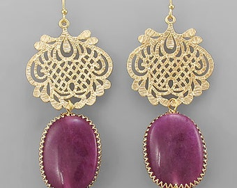 Gold Filigree & Gem Stone Drop Earrings
