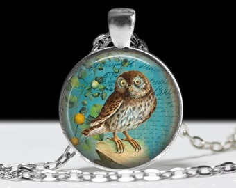 Owl Jewelry Pendant Wearable Art Owl Necklace Teal Owl Pendant Charm