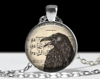 Raven Necklace Raven Jewelry Bird Nest Pendant Wearabel Art