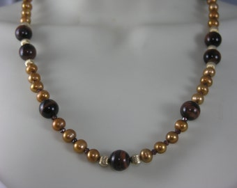 Red Tiger Eye, Garnet,, FreshWater Pearl Necklace