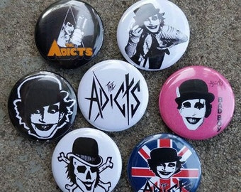 The Adicts 1 inch pins set of 7