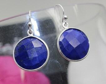 Lapis Lazuli Earrings, Sterling Silver Earrings, Gemstone Earrings