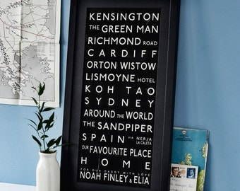 Subway Destination Bus Blind Print. Monochrome bespoke Routemaster Destination Digital Print Tram Scroll gift for him her anniversary Custom