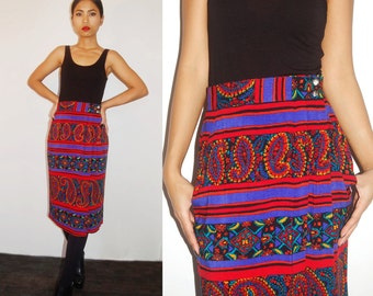 Russian Print Wrap Skirt size S