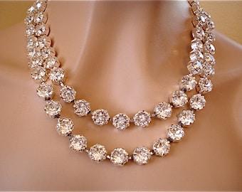 Double Strand Swarovski Crystal Bridal Statement Necklace, Diamond Cut Crystal Necklace, wedding necklace, multi strand necklace, 10.5 mm