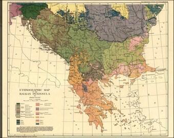 24x36 Poster; Ethnic Map Of Greece Bosnia Serbia Croatia 1918