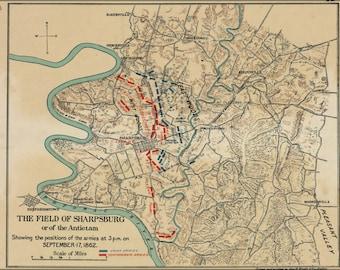 24x36 Poster; Map Of Battle Field Of Sharpsburg Antietam  1862