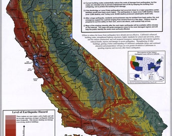 24x36 Poster; Map Of California Earthquake Potential 2003