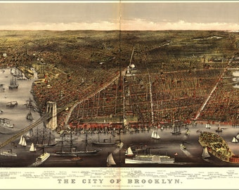24x36 Poster; Map Of City Of Brooklyn 1879