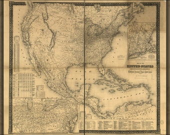 24x36 Poster; Map United States Canada Mexico West Indies 1861