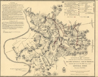 24x36 Poster; Battlefield Map In Front Of Nashville 1864