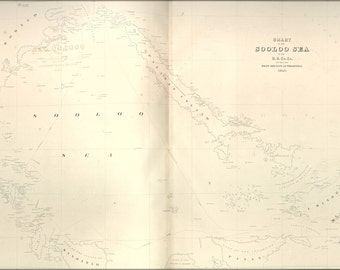 24x36 Poster; Chart Map Of The Sooloo Sea 1841