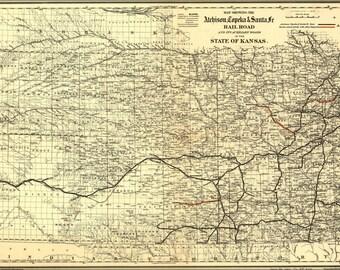 24x36 Poster; Map Of Atchison, Topeka & Santa Fe Rail Road In Kansas 1886