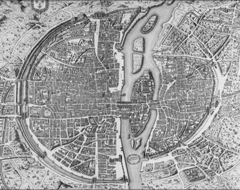 24x36 Poster; Map Of Paris France 1552 Original 1756 This Copy