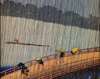 24x36 Poster; 100 Views Of Edo - 52. Evening Shower At Atake And The Great Bridge