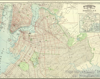 24x36 Poster; Brooklyn Map 1897 Brooklyn Map