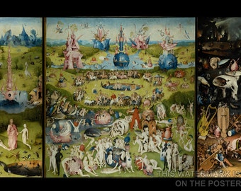 24x36 Poster; Garden Of Earthly Delights Triptych By Hieronymus Bosch (C. 1503) Paradise And Hell
