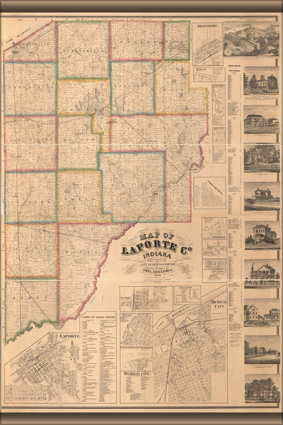 24x36 poster map of laporte co indiana 1862 for Laporte colorado